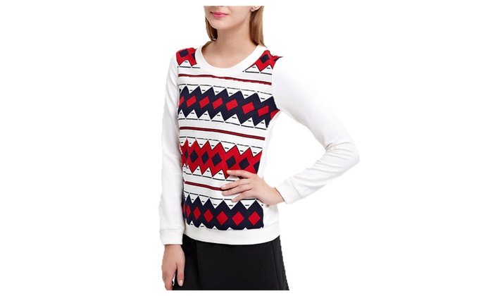 Women's Fashion Geometric Printed Crew Neck Pullover Slim Fit Tee Tops