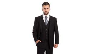 Men's Solid Wool Suits Classic Fit 3-PC Suit Set