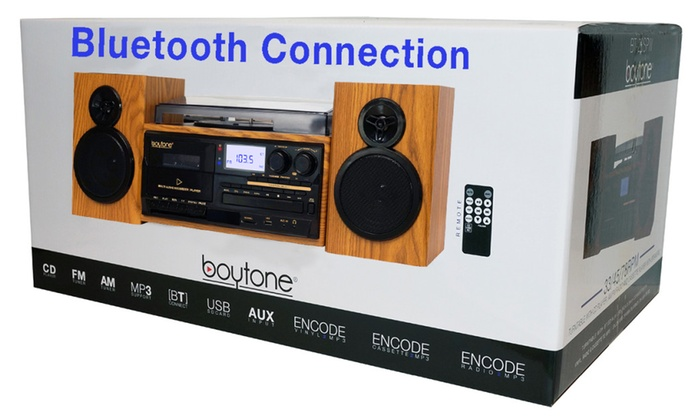 Boytone BT-28SPW, Bluetooth Turntable with CD, Cassette, AM