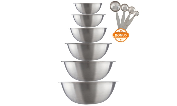 50847b1fb4c Stainless Steel Mixing Bowl Set with Measuring Spoons (10-Piece) ...