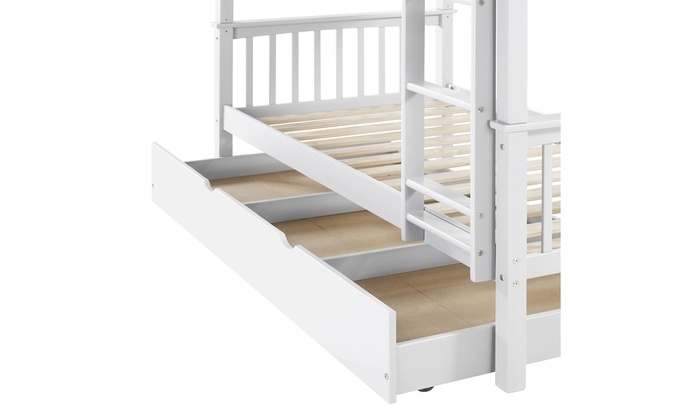 We Furniture Solid Wood Twin Bunk Bed With Trundle Bed White Groupon