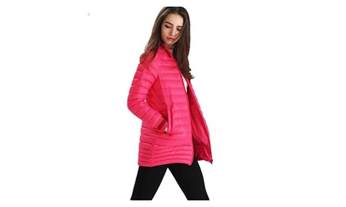 Jasanplay Vi Thin down jacket Girls long down jacket ladies winter – Pink / Large