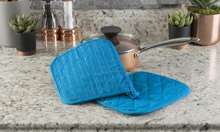 f90c41f67dd Lavish Home Quilted Pot Holder Set with Silicone Grip