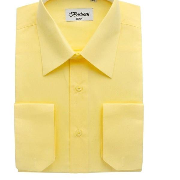 Berlioni Men/'s Convertible Cuff Solid Dress Shirt-red-3xl Sleeve 36//37
