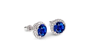 3.00 CTTW Sapphire Halo Sterling Silver Studs by Valencia Gems
