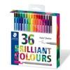 Color Pen Set, Set of 36 Assorted Colors (Triplus Fineliner Pens)