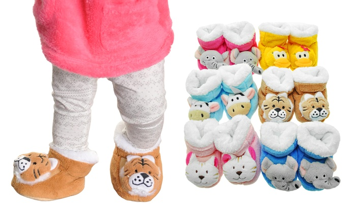 Fleece lined baby booties with animal applique pack groupon