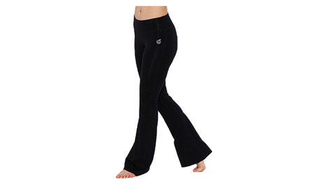 Green Apple Bamboo Fitted Yoga Flare in Black 57b2e7e6-9b1b-4973-a1ae-ed7874b7d5c3