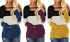 Women New Sweet Color Block Chest Cutout Tunic Long Sleeve Round Neck Loose Top