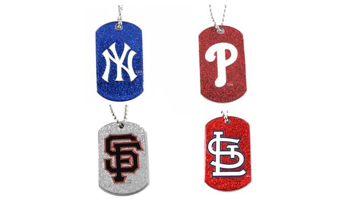MLB Glitter Dog Tag Necklace