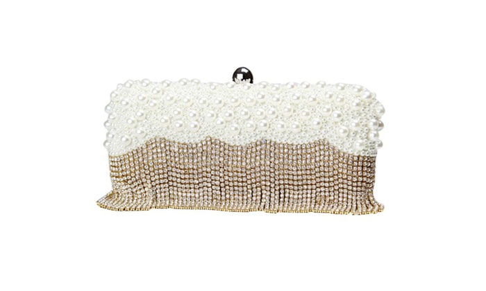 Women Evening Bag Handmade Party Clutch Bag with Pearl and Crystal