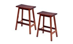 Set of 2 Saddle Seat 24'' Bar Stools Wood Bistro Kitchen Pub Chair