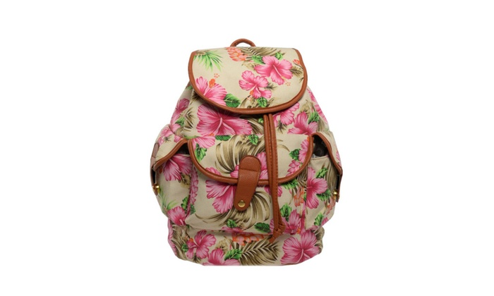 Back To School White Hibiscus Flower Backpack Groupon