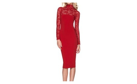 Womens Sexy Long Sleeve Stretch Lace Party Formal Dresses 966400bf-dd91-45b8-9cff-2024f613e37f