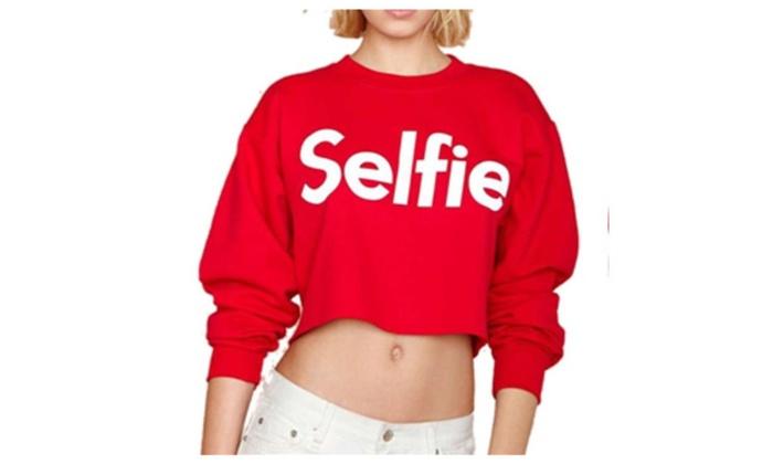Womens Casual Long Sleeves Selfie Print Sweatshirt Crop Top