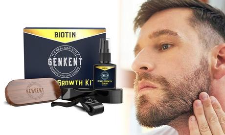 Beard Growth Kit Beard Oil & Brush & Derma Roller Beard and Hair Growth Men Gift