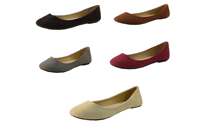 P26 Womens Classic Round Toe Easy On/Off Ballerina Ballet Flats Shoes