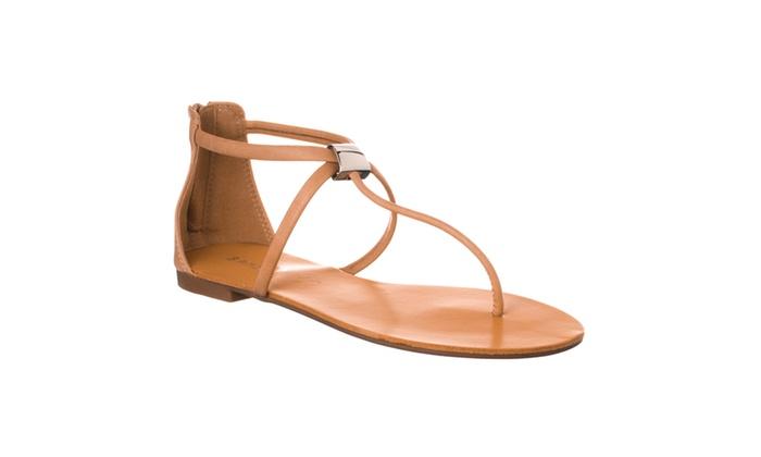 Riverberry Women's 'Grayson' Metal Loop T-Strap Flat Sandal, Nude