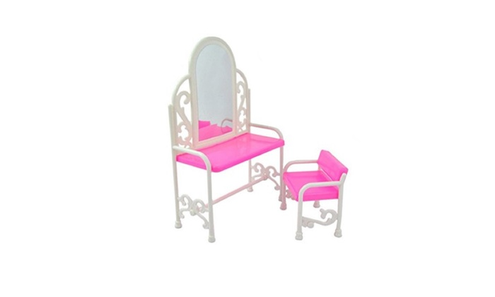 Mini Barbie Dollhouse Set Dressing Table Chair Bed Bedroom ...