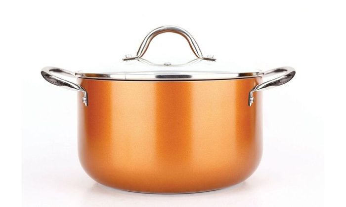 38 Off On Copper Luxury Cookware Pan Set Livingsocial Shop