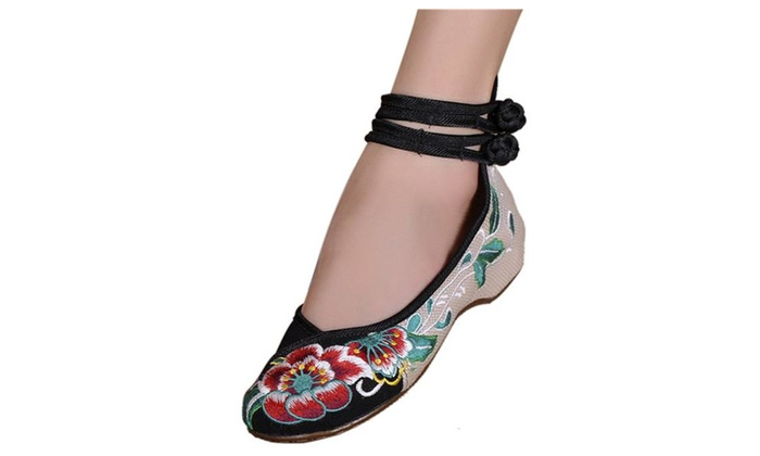 Women's Embroidery Floral Strappy Ankle Slip On Shoes