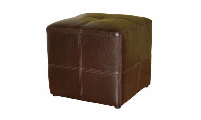 Baxton Studio Nox Cube Bonded Leather Ottoman