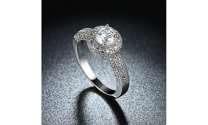 f94469227 1.90 CTTW Single Crystal Multi Pav'e Engagement Ring Set in 18K White Gold