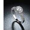 1.90 CTTW Single Crystal Multi Pav'e Engagement Ring Set in 18K White Gold