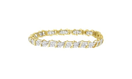 10K Yellow Gold 2 CTTW Round Cut Diamond Square Link Bracelet (H-I,SI1-SI2) ef90c441-5c19-4692-b8be-aecd8706ce3b