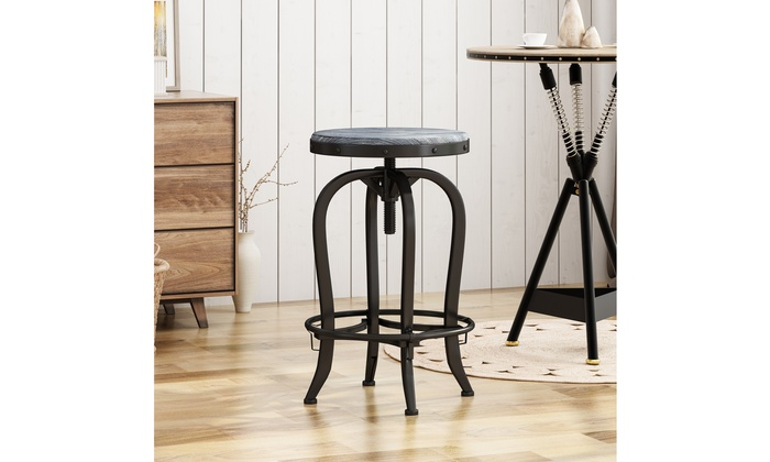 Awesome Blake Reclaimed Swiveling Iron Barstool With Firwood Seat Short Links Chair Design For Home Short Linksinfo