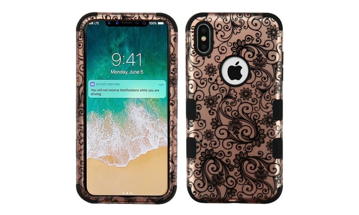 For Iphone Xs Max Rose Gold Black Four Leaf Clover Tuff Hard Hybrid