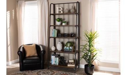 Ceren Distressed Wood and Black Metal Finished 5-Tier Living Room Ladder Shelf