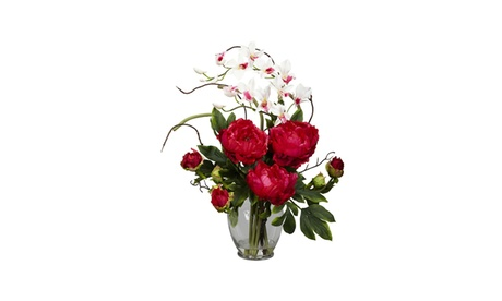 Nearly Natural Peony & Orchid Silk Flower Arrangement Red 82ded328-2e0c-4b07-b354-2516763e5be1