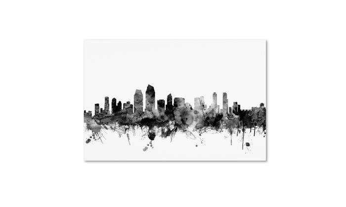 Michael tompsett 39 san diego ca skyline bw 39 canvas art for Michaels craft store san diego