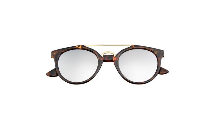 9c80e9b2f Emblem Eyewear - Vintage Retro Cross Bar Horned Rim Flash Mirror Lens  Sunglasses