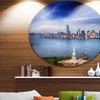 Statue of Liberty and Skyline' Disc Cityscape Photo Circle Metal Wall Art