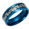 Blue Stainless steel Traditional Gold Dragon Black Ring for Men