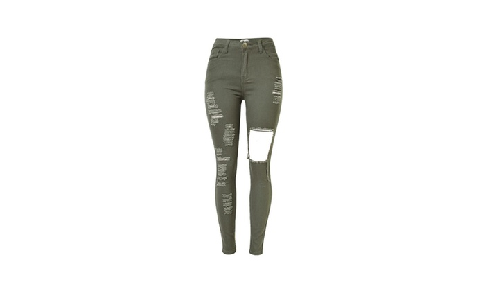 Women's ZipUpwithButtonClosure Ripped Stylish Mid Rise Jeans