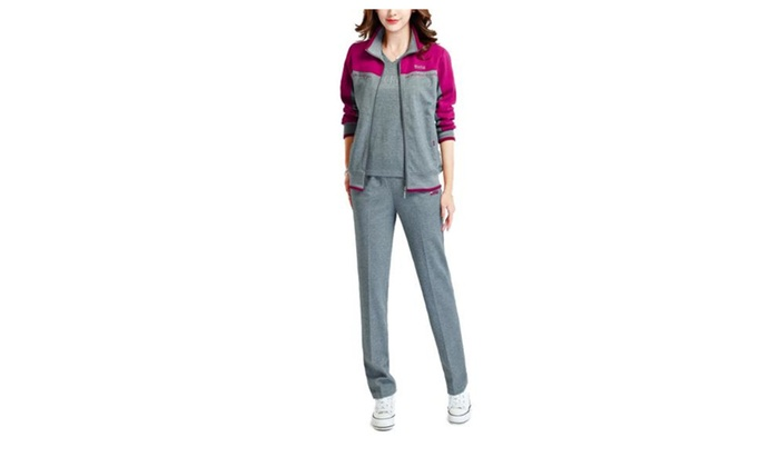 Women's Simple Straight Long Sleeve Casual Long Tracksuits