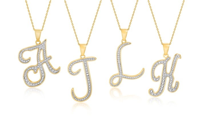 Diamond accent script initial pendant necklace in gold plated brass aloadofball Gallery
