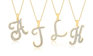 Diamond Accent Script Initial Pendant Necklace in Gold Plated Brass