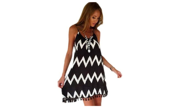 Women's Wave Striped Print Summer Sleeveless Party Dress