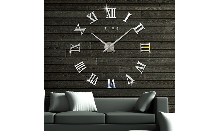Modern 3D Frameless Wall Clock Style Watches Hours DIY Room Home