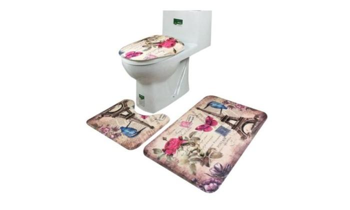European Style Bathroom Non Slip Pedestal Rug Lid Toilet Cover Bat