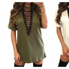 Deep V Neck Lace Up Sexy Bandage Party Dresses Casual T-Shirt Dress