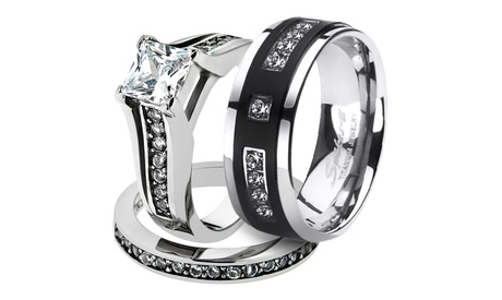His & Her Stainless Steel 2.10 Ct Cz Bridal Set & Men's Titanium Band