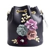 Flowers Pattern Leather Small Bucket Woman Cross body Hand Bags