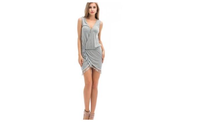 Sexy Women Summer Casual Sleeveless Tassel Evening Party Beach Dress