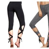 Women's Cutout Tie Cuff Leggings High Waisted Skinny Workout Yoga Pant
