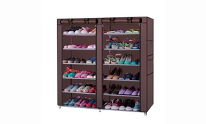 6 Row 12 Grid Home Cabinet Storage Organizer Shoe Rack Stand w/ Cover